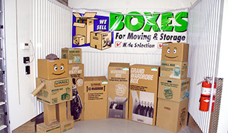 Large selection of boxes, packing material, tape etc.